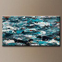 Extra Large Wall Art - Aquamarine Adventure - Large Abstract