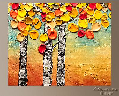 Autumn Birch trees Modern Abstract Art Painting -Wall Art Close Up