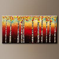 Abstract Art Painting - Autumn Birch Trees - Wall Art