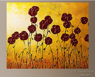 Abstract Art Paintings of Flowers Autumn Valley - Original Large ...
