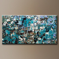 Large Modern Abstract Art Painting - Beach and Mountains - Contemporary Art