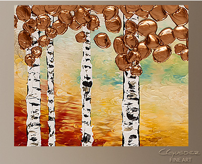 Bedazzling Birches Modern Abstract Art Painting -Wall Art Close Up