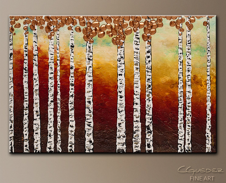 Bedazzling Birches - Abstract Art Painting Image by Carmen Guedez