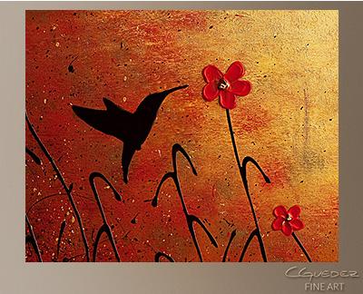 Beija Flor Modern Abstract Art Painting -Wall Art Close Up