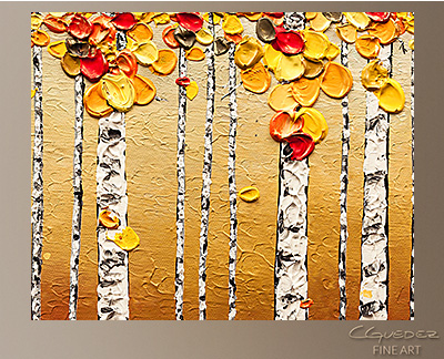 Birch Trees Modern Abstract Art Painting -Wall Art Close Up