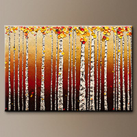 Abstract Art Painting - Birch Trees - Art Canvas