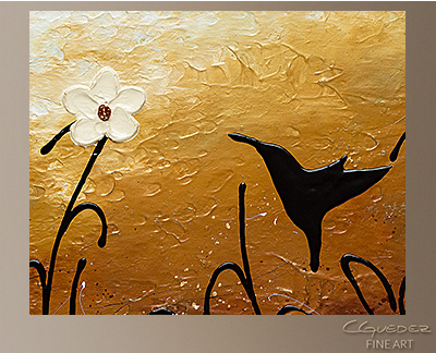 Blossom and Bird Modern Abstract Art Painting -Wall Art Close Up