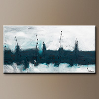 Oversized Abstract Wall Art - Blue Harbour - Original Painting