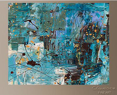 Blue Ocean Modern Abstract Art Painting -Wall Art Close Up