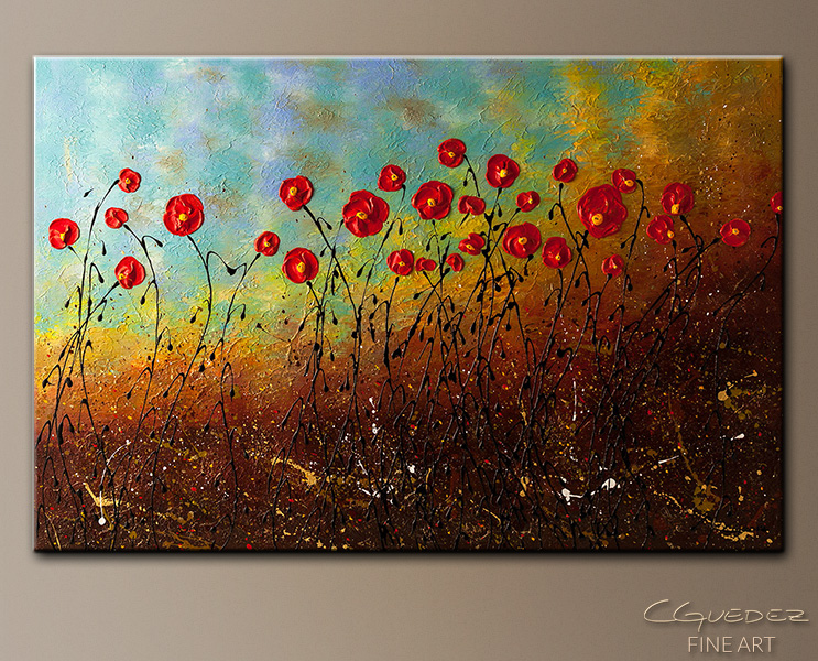 Blue Sky Flowers - Abstract Art Painting Image by Carmen Guedez