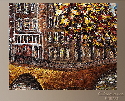 Bridges of Amsterdam Modern Abstract Art Painting -Wall Art Close Up