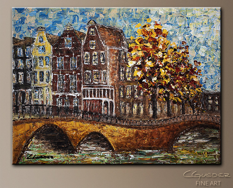 Bridges of Amsterdam - Abstract Art Painting Image by Carmen Guedez
