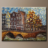 Impressionist Art Painting - Bridges of Amsterdam - Art Canvas