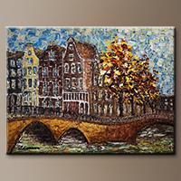 Impressionist Art Painting - Bridges of Amsterdam - Art Gallery