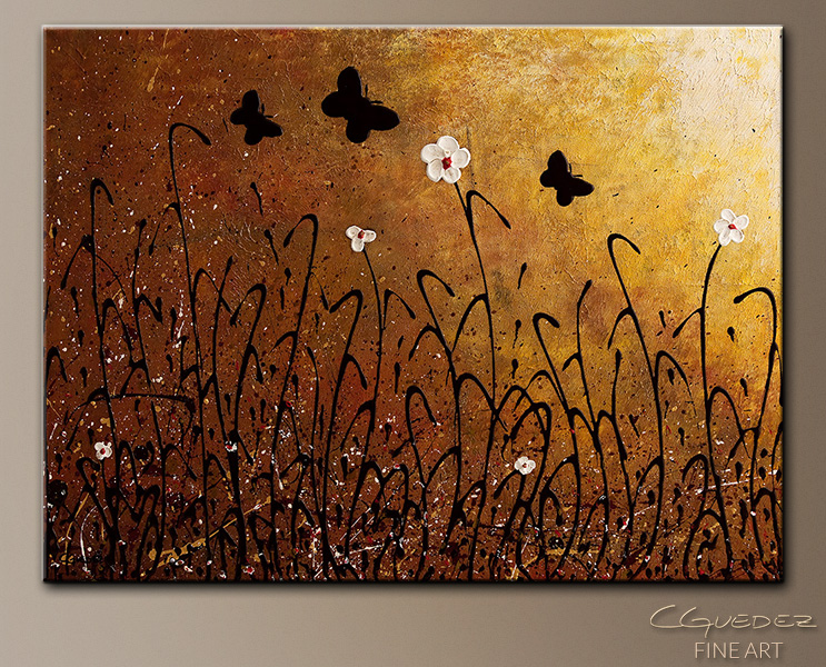 Butterflies Landscape - Abstract Art Painting Image by Carmen Guedez