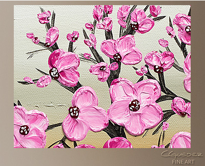 Cherry Blossom Modern Abstract Art Painting -Wall Art Close Up