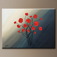 Poppy Flower Painting - Clair de lune - Canvas Painting