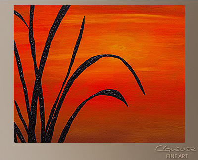 Coastal Sunset Modern Abstract Art Painting -Wall Art Close Up