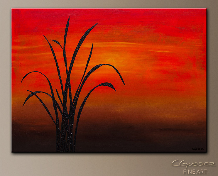 Coastal Sunset - Abstract Art Painting Image by Carmen Guedez