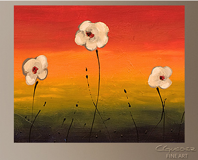 Dancing Flowers Modern Abstract Art Painting -Wall Art Close Up