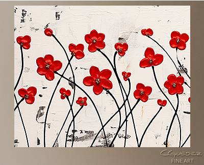 Dancing Poppies Modern Abstract Art Painting -Wall Art Close Up
