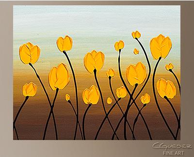 Dancing Tulips Modern Abstract Art Painting -Wall Art Close Up