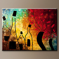 Original Modern Wine Abstract Art Painting - Deco Vino - Modern Art