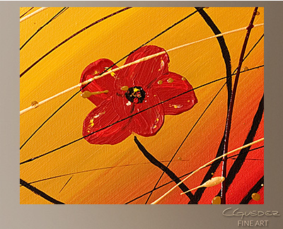 Dripping Flowers Modern Abstract Art Painting -Wall Art Close Up