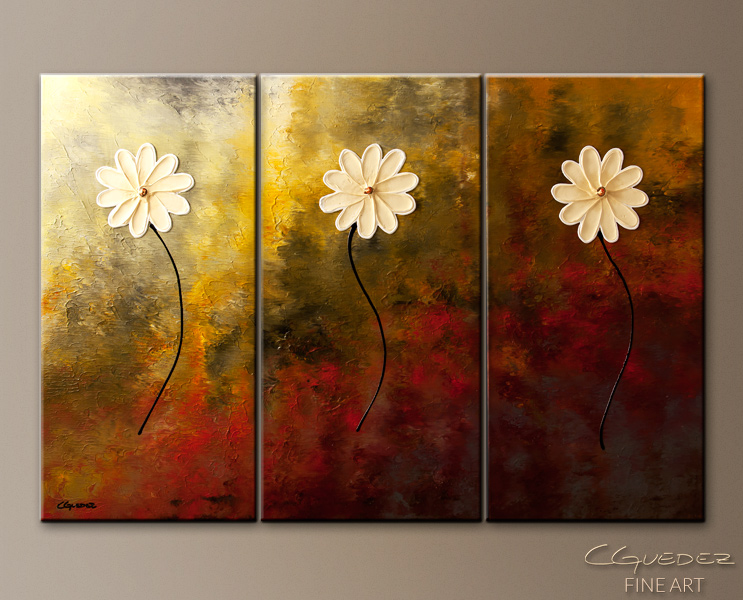 Flowers Painting-Faith, Hope, Love-Abstract Art Paintings by Carmen Guedez - Image