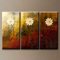 Floral Abstract Art Painting - Faith, Hope, Love - Wall Art