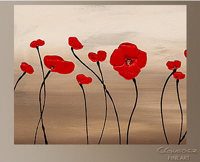Fleurs en Rouge Modern Abstract Art Painting -Wall Art Close Up