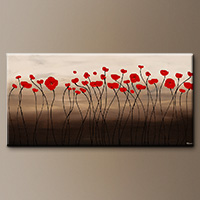 Abstract Art Painting - Fleurs en Rouge - Art Canvas