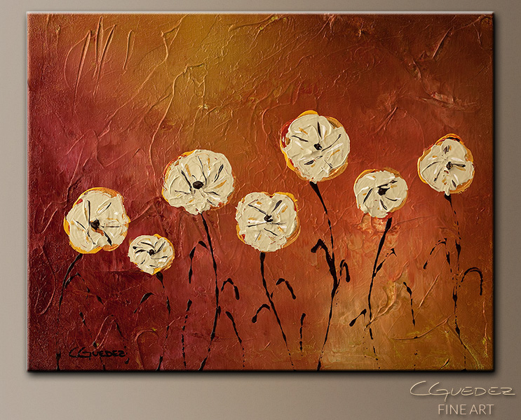 Flores en mi Jardin - Abstract Art Painting Image by Carmen Guedez