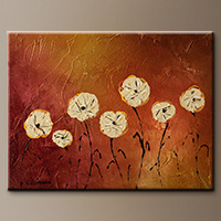 Small Abstract Art Painting of Flowers - Flores en mi Jardin - Canvas Painting