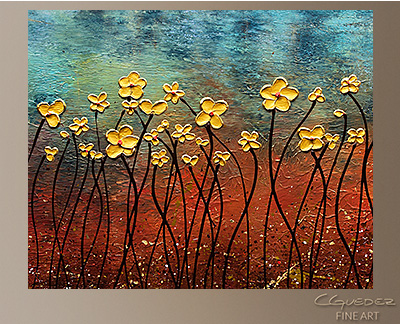Golden Flowers Modern Abstract Art Painting -Wall Art Close Up