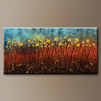 Abstract Art Painting - Golden Flowers - Art Gallery