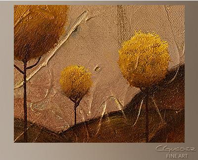 Golden Trees Modern Abstract Art Painting -Wall Art Close Up