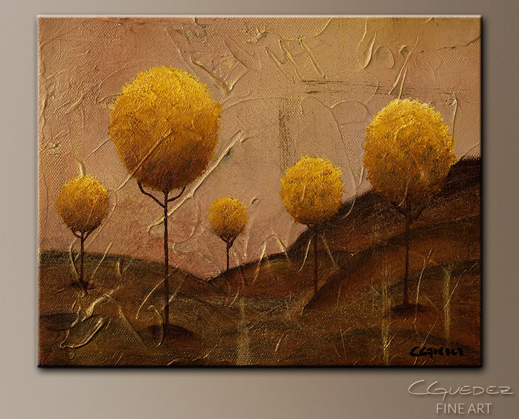 art paintings of trees. Golden Trees-Abstract Art