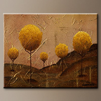 Abstract Painting on Canvas - Golden Trees - Art Gallery