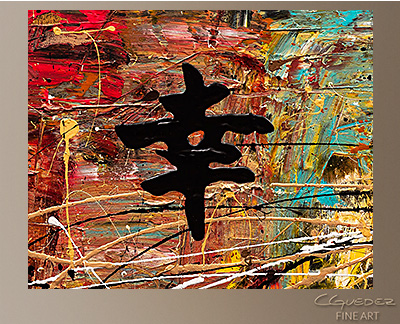 Good Fortune Modern Abstract Art Painting -Wall Art Close Up