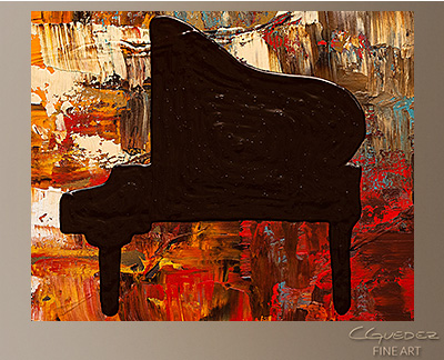 Grand Piano Modern Abstract Art Painting -Wall Art Close Up