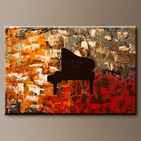Grand Piano-Flowers Art Gallery-Abstract Art Paintings Image
