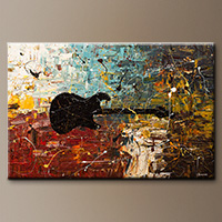 Guitar Story-Flowers Art Gallery-Abstract Art Paintings Image