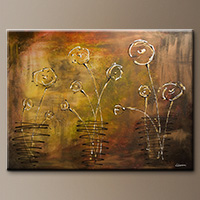 Modern Abstract Art Canvas Painting - Happy Poppies - Canvas Painting