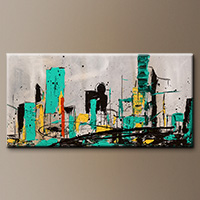 Modern Cityscape Abstract Art- Hashtag City - Art Canvas