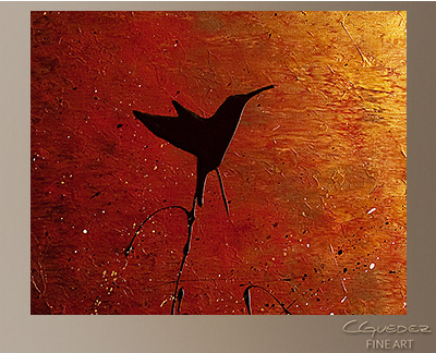 Hummingbird Modern Abstract Art Painting -Wall Art Close Up