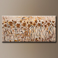 Gold Poppy Flowers Abstract Painting - In My Dreams - Wall Art