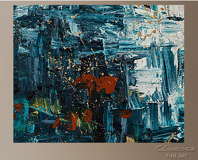 Island Falls Modern Abstract Art Painting -Wall Art Close Up