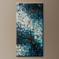 Vertical Large Abstract Painting - Island Falls - Modern Art