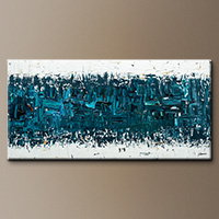 Blue and White Abstract Art - Like Night and Day - Original Painting